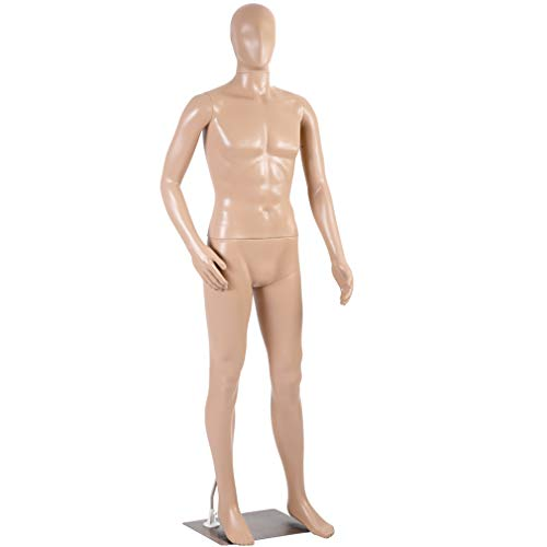 Mannequin Manikin Dress Form Adjustable 73 Inch Mannequin Display Stand Dress Model Full Male Body Realistic Head Turns W/Metal Base Mannequin Stand Torso