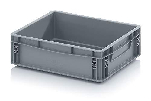 Auer Eurobehälter EG 43/12 HG Handgriffe geschlossen Stapelbox 40x30x12cm Kunststoffbox 10L | Kommissionierbehälter stabil | Lager- und Transportbox | Lebensmittelbox Vorratsbox Campingbox