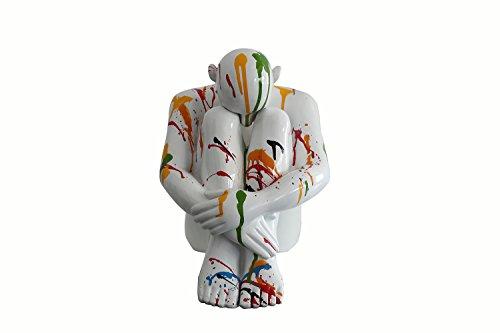 Meubletmoi Figurine Statua Uomo Bianco con getti di Vernici Oggetto Design Moderno