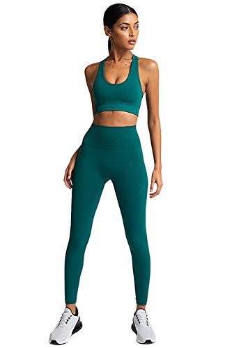 PowerLife MisShow Damen Sport Anzug Damen Trainingsanzug BH & Leggings Set für Yoga Tanzen Fitness Gym Racerback Sportanzug Sport Bekleidungsset Dunkelgrün M