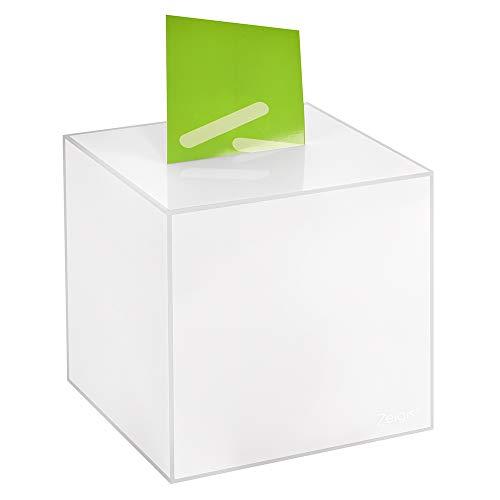 Losbox/Aktionsbox 200x200x200mm opal, aus Acrylglas/Spendenbox/Einwurfbox/Gewinnspielbox/Wahlurne/Acryl/Opal/milchig/undurchsichtig/Milchglas - Zeigis®