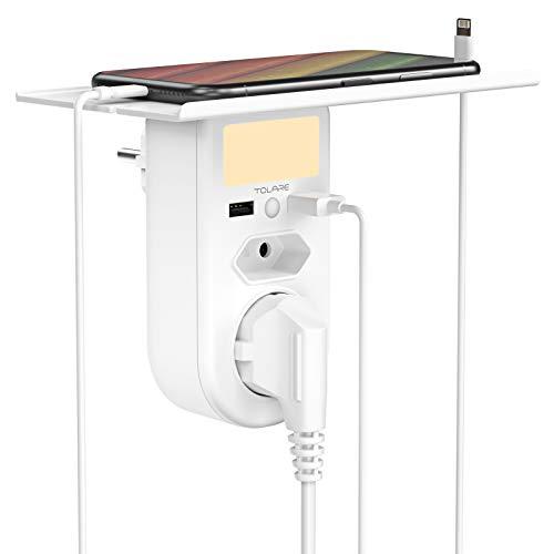 Dimmbar LED Nachttischlampe mit Ladefunktion, Tolare Dämmerungssensor Nachtlicht, Stromversorgung über Schuko Steckdosen, 6-in-1 Nachttischlampe mit Regal, für Schlafzimmer/Arbeitszimmer/Büro/Reise