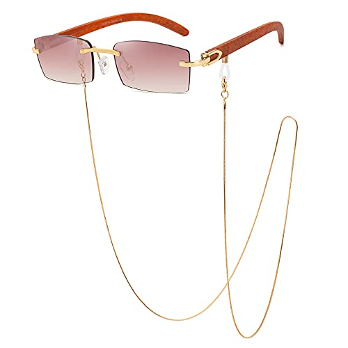 SHEEN KELLY Gafas de sol rectangulares de cadena Retro para hombres y mujeres Gafas con montura de madera ultrapequeña Gafas sin montura de moda