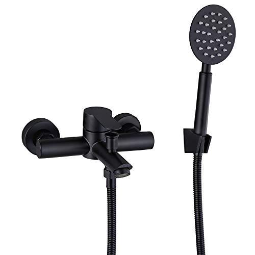 Matte Black Wall Mount Bathtub Faucet with Handheld Sprayer Stainless Steel SUS304 Single Handle Bathroom Tub Faucet Bath Shower Mixer Tap
