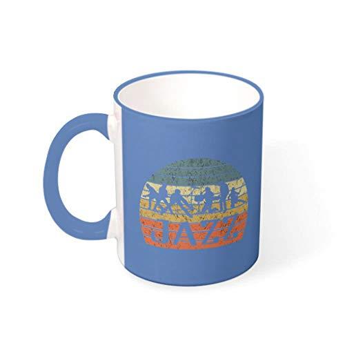 YOUYO Spark Taza de café Jazz duradera de cerámica retro moderna – Taza de cerámica para el hogar para aniversario acero azul 330ml
