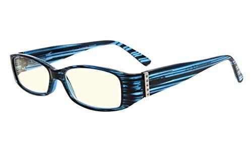 Eyekepper Spring Tempel Oranje Getinte Lenzen Computer Lezen Bril UV-bescherming, Anti Glare,Anti Blauwe Stralen Lezers met Echte Oostenrijkse Kristallen Vrouwen +2.50 Blue-light Lens