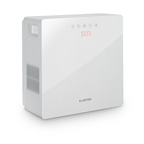 Klarstein PurePal - Purificador de aire, Humidificador, Filtrador de aire, 15 W, Filtro de carbón, Depósito de 3 litros, Silencioso, Sistema de seguridad en seco, Control táctil, Blanco