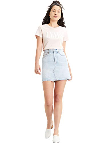 Levi's High Rise Deconstructed Iconic Button Fly Skirt Falda, Check Ya Leather, 23 para Mujer