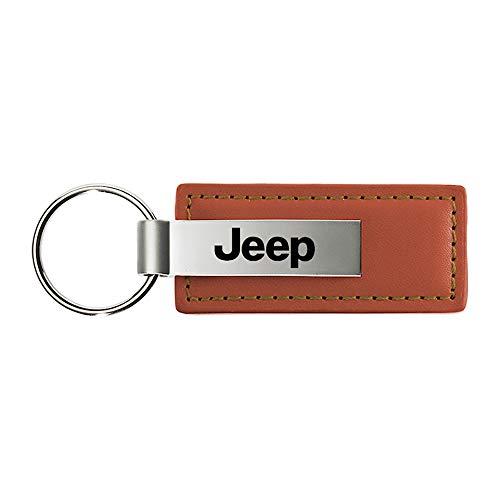 Jeep Brown Leather Key Fob Authentic Logo Key Chain Key Ring Keychain Lanyard