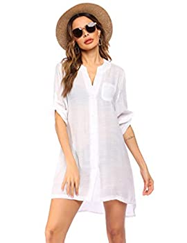 Ekouaer Pool Coverups Dress for Women Button Down Beachwear Cover Up Shirt,Medium