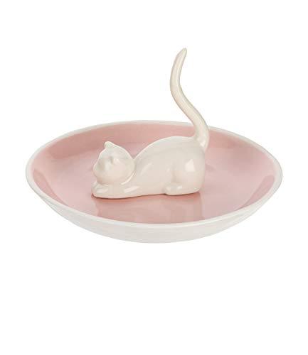 SIX Rosa Schmuckständer mit weißer Katze aus Keramik Schmuckteller Schmuckbaum Schmuckhalter (244-246)