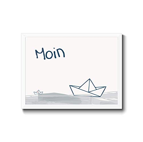 """Bild Poster\""""Moin\"""" Druck, Typografie, Hand Lettering, Querformat, Segelboot Papierboot maritim, norddeutscher Charm, grau-blau-weiß, Personalisierung"""