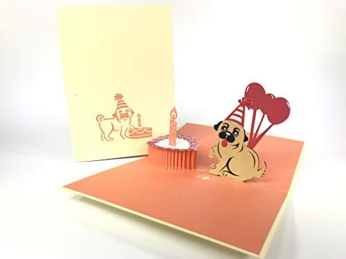 Pop-Up-Grußkarte mit Mops-Motiv, zum Jahrestag, zum Geburtstag, Ostern, Muttertag, Dankeschön, Valentinstag, Hochzeit, Kirigami, Papierhandwerk, Postkarten