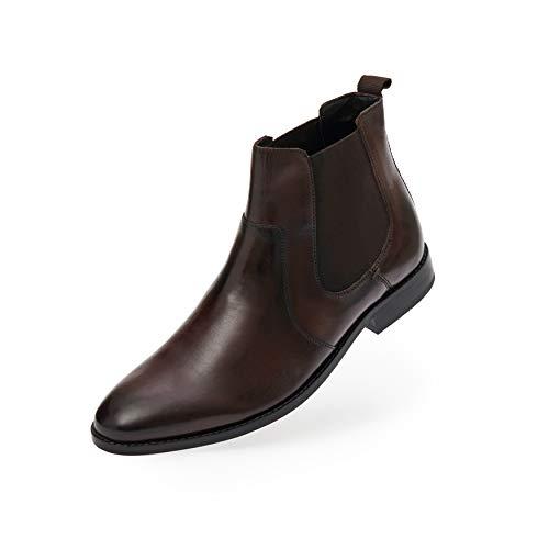 Fretz Men Sven Chelsea Boots | Lederschuhe für Herren mit seitlichen Gummiband-Einsätzen | hochwertiges Rindsleder, modisches mokka | zu Business-Anzug & Casual Outfits | Größe 42