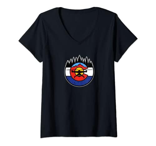 Donna Colorado Drone - CO Logo Maglietta con Collo a V