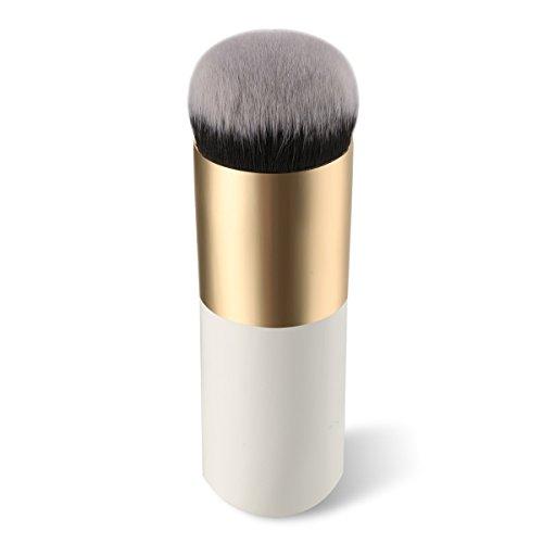 Lurrose Flat Foundation Brush Pinceau Maquillage Kabuki Portable pour Mélanger Poudre Liquide (Blanc Doré)