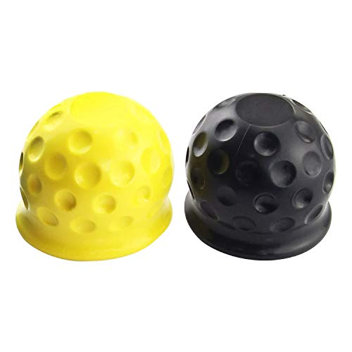 "Cubierta de Bola para Gancho de Remolque - 1 x Negra + 1 x Amarilla - para Cabeza de Bola de hasta Ø 50 mm - 2"""
