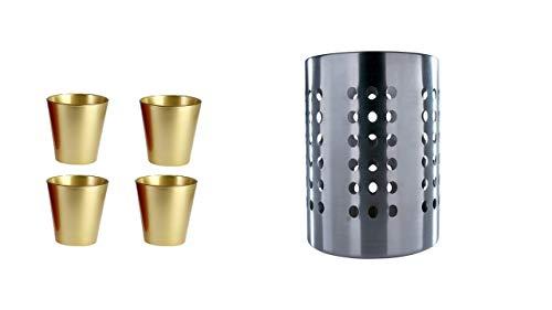 Ikea Ordning – Besteck Ständer, Edelstahl + 4 Glastassen 250ml Gold