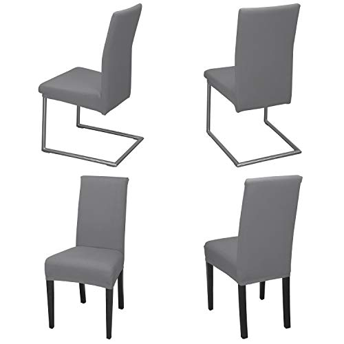 Staboos Juego de 4 fundas para silla, 96% algodón, bielásticas, universales, lavables y no necesitan planchado, color piedra