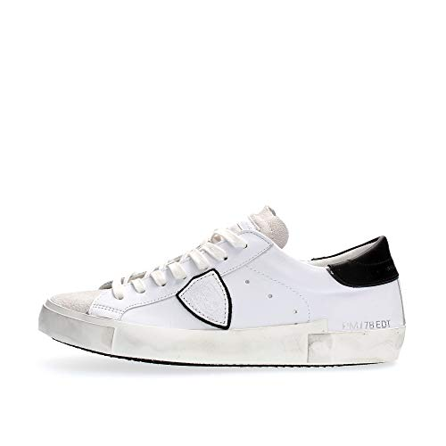 Philippe Model Sneakers Prsx Basic Blanc Noir Uomo Mod. PRLU 43