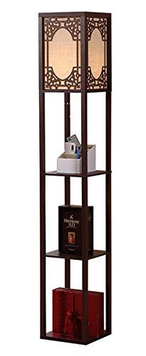 RSTJ-Sjef Lámpara De Pie con 3 Estantes De Almacenamiento De Pantalla, 63'H, Diseño Simple, Lámpara De Pie Moderna para Dormitorio, Cabecera, Esquina, Sala De Estar