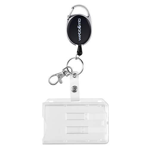 WEBBOMB® Ausweishalter Kartenhülle Ausweishülle Kartenhalter aus Hartplastik für Karten und reißfester Ausweis JoJo-Schnur inkl. Karabiner, Schlüsselring und Metall Gürtelclip