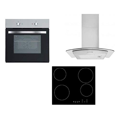 Cookology 60cm Stainless Steel Built-in Single Electric Fan Oven, Ceramic Hob & Curved Hood Pack