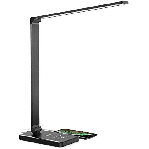 Lámpara de escritorio LED, lámpara de escritorio para niños, color negro, regulable, 5 modos de color, 10 niveles de luminosidad, control táctil, protección de los ojos, con puerto USB-(negro)