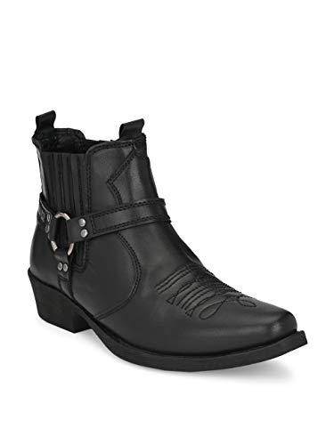 Delize Men's Black Cowboy ankle Boots