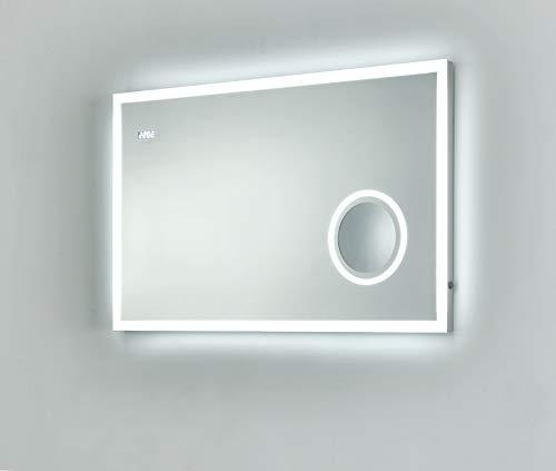 Badspiegel Sofia met verlichte make-upspiegel, klok en LED-verlichting badkamerspiegel wandspiegel lichtspiegel (100 x 60 cm (B x H))