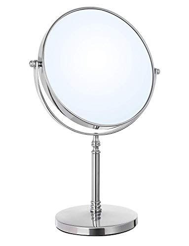 SONGMICS 8-Inch Large Tabletop Vanity Makeup Mirror Two-Sided 7X Magnifying Swivel Cosmetic Mirror, 14 Inches Height Chrome UBBM07S