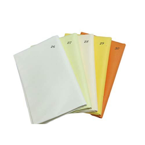 SHIFWE - Tela de tela de color puro degradado hecha a mano con tela de algodón impresa, parches de costura, suministros de manualidades, 50 x 50 cm, 5 piezas