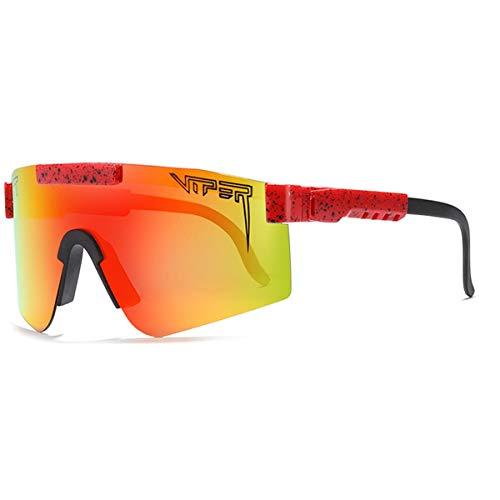 HUALUWANG Crótalo Gafas de Sol Polarizadas, Luz Polarizada para Hombres y Mujeres, Lentes de Espejo con Protección UV para Exteriores a Prueba de Viento (Color : C)