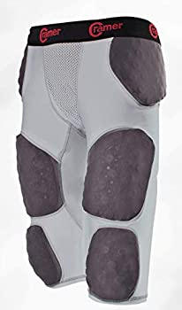 Cramer Thunder 7 Pad Football Girdle With Integrated Hip Thigh and Tailbone Pads Designed for Protection from High Impacts High Hip Pad Coverage Extra Thigh Protection Padding Gray X-Large