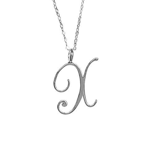 Sylar Collar de Mujer con Colgante,Collar con Colgante de Letra Inicial Simple Alfabeto a-Z con Cadena Gargantilla de Moda de Metal Plateado