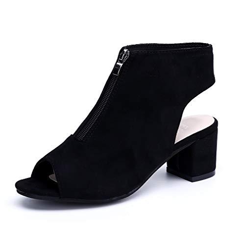 Sandalias Mujer Zápatos de Tacon Bloqu Verano Botines Cuña Peep Toe Fiesta Cremallera 5cm Respirable Negro Gris Rojo EU34-ER43