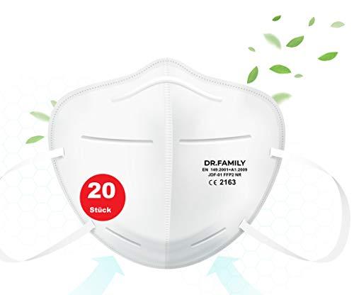 HHW Pro FFP2 Maske Atemschutzmaske Partikelfiltermaske EU CE Zertifiziert CE2163 EN 149:2001+A1:2009- Einzel Verpackt 20 Stück