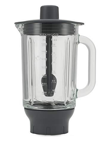 Kenwood ThermoResist Glas-Mixaufsatz KAH359GL, Zubehör für Kenwood Chef Küchenmaschinen, hitzebeständiger Glasbehälter für Eis, Suppen & Co., inkl. Rührstick, Anthrazit/Silber