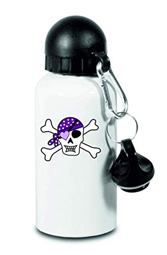 Drucklebnis24 Botella – Cráneo pirata lila Scheitelkäppchen – para niños, escuela, deporte, fitness – fina botella de agua de aluminio, color Blanco, tamaño 500 ml