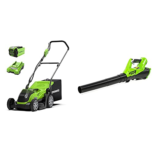 Greenworks 40V cordless lawn mower 35cm and 40V blower combo kit include 2Ah battery and charger