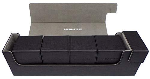 docsmagic.de Premium Magnetic Tray Long Box Black Large + 4 Flip Boxes - Negra