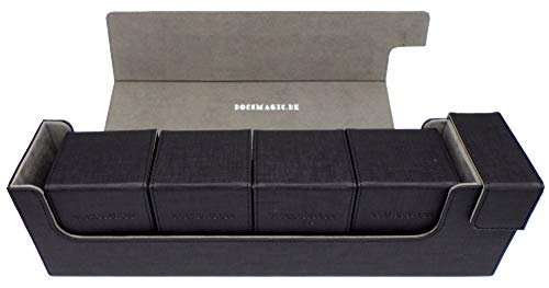 docsmagic.de Premium Magnetic Tray Long Box Black Large + 4 Flip Boxes - Nero