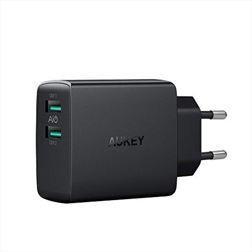 AUKEY Caricatore USB da Muro e AiPower Tecnologia a 2 Porte 24W 4,8A Caricatore USB con Output Massima Fino a 2,4A, Compatto per iPhone XS/XS Max/XR, iPad Air/PRO, Samsung Galaxy, LG, HTC ECC.