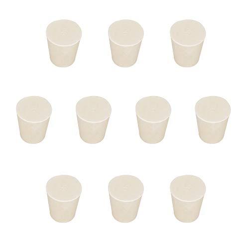 stonylab 10-Paquete Tapones de Goma Sólida, con Blanco Tapones de Sello de Lab, Tamaño desde No. 000 a No. 12 para Laboratorio del Química, Adapta a Todos los Matraces Erlenmeyer de stonylab/Labasics