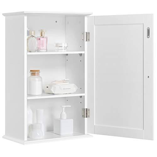 Yaheetech Wall Mounted Bathroom Cabinet 3 Tiers Storage Organiser Hanging Corner Shelf Medicine Cabinet with 1 Door and Multiple Tiers Shelf White