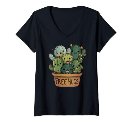 Mujer Camiseta de abrazos de cactus gratis   Lindo regalo de Camiseta Cuello V