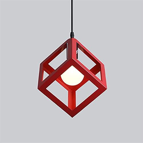 Accesorio de iluminación Luces colgantes de metal cuadrados nórdicos accesorios creativos geométricos de hierro forjado labrado de techo lámpara de techo cubo E27 Edison Suspensión iluminación Restaur