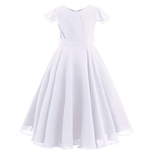FYMNSI Vestito da bambina in chiffon per damigella d'onore, linea A, elegante abito lungo da sera, per compleanno, feste, ballo, estivo, con cintura, bianco, 11-12 Anni