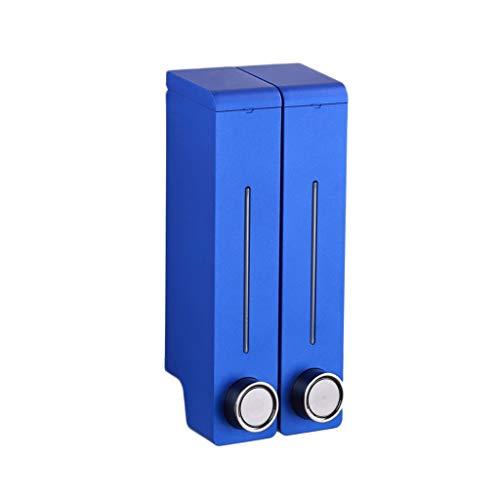 Distributeur Liquide 300 ML Ménage Double-tête Liquide Distributeur Multi-Couleur en Option Salle de Bains Mural Liquide Distributeur (Color : Blue, Taille : 22.8 * 9.9cm)