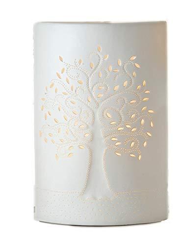 GILDE Lampe Lebensbaum - aus Porzellan oval in weiß H 28 cm
